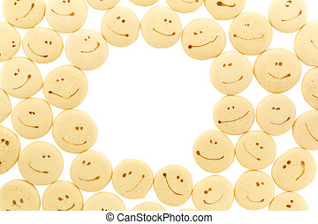 smile face on cookie frame isolated on white background