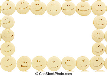 smile face on sponge drop cookie frame isolated on white background