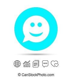 Smile face sign icon.