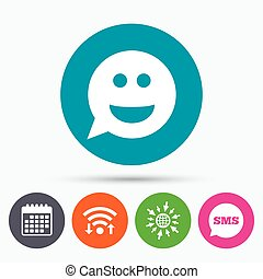 Wifi, Sms and calendar icons. Smile face sign icon. Happy smiley chat symbol. Speech bubble. Go to web globe.