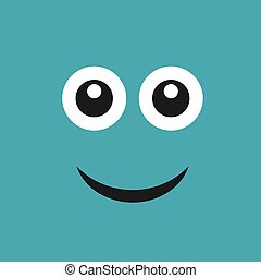 Smile face with emotions of joy on color background