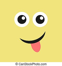 Smile face with tongue sticking out on color background