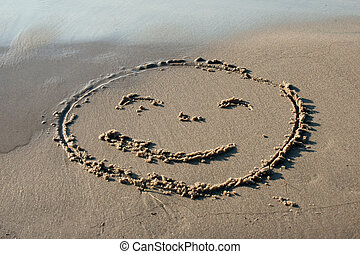 Smile face written in the sand