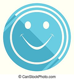 Smile flat design blue web icon, easy to edit vector illustration for webdesign and mobile applications