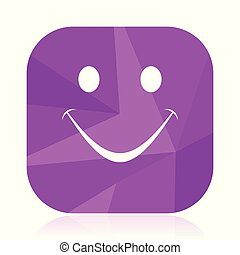 Smile flat vector icon. Emoticon violet web button. Agree internet square sign. Vote modern design symbol in eps 10.
