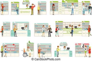 smile folk, ind, apotek, udkårer, og, købe, narkotiske midler, og, kosmetikker, samling, i, drugstore, scener, hos, apotekere, og, klienter