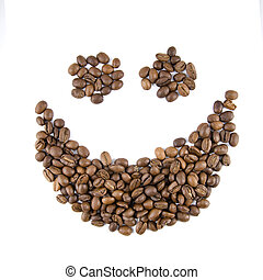 smile from coffee beans isolated on white