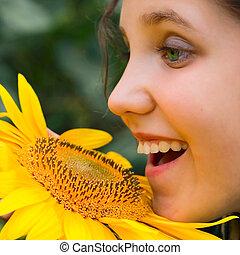Smile Girl and sunflower