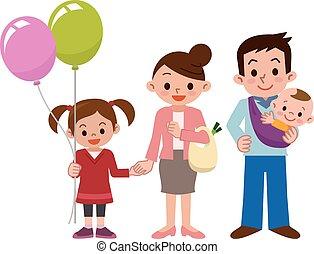 smile, glad familie