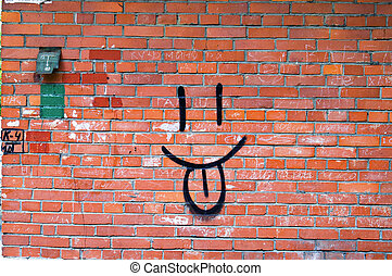 Smile Graffiti on Red Bri