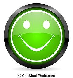 smile green glossy icon on white background