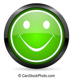 smile green glossy icon on white background