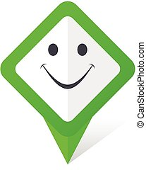 Smile green square pointer vector icon in eps 10 on white background with shadow.