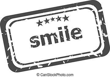 smile grunge rubber stamp isolated on white background