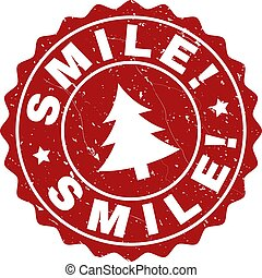 SMILE! Grunge Stamp Seal with Fir-Tree