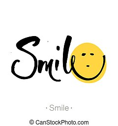 smile., hand-drawn, lettering, de, um, frase, smile.