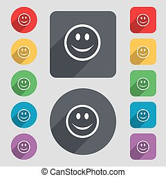 Smile, Happy face icon sign. A set of 12 colored buttons and a long shadow. Flat design. Vector