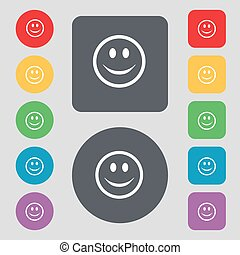Smile, Happy face icon sign. A set of 12 colored buttons. Flat design. Vector
