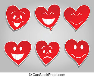 Smile hearts - Smiles in the form of red hearts. A vector...