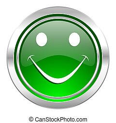 smile icon, green button
