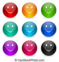 Smile icon set, colorful glossy 3d rendering ball buttons in 9 color options for webdesign and mobile applications