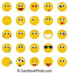 Smile icon set isolated, flat style