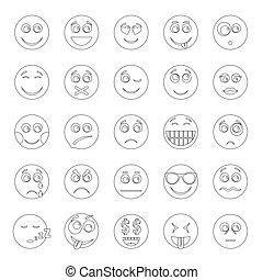 Smile icon set, outline style