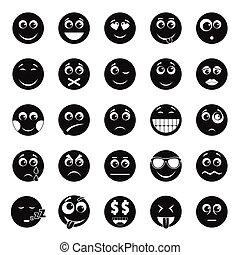Smile icon set, simple style