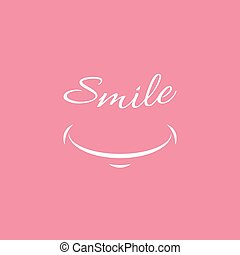 Smile icon template design. Smiling emoticon vector isolated logo illustration on pink background. Face line art style. Smiling Funny Face With Smile