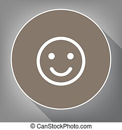 Smile icon. Vector. White icon on brown circle with white contour and long shadow at gray background. Like top view on postament.