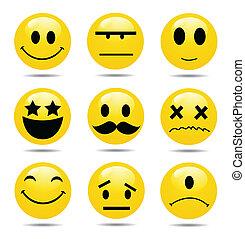 smile, ikon, sæt, vektor