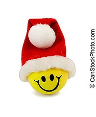 smile in santa hat isolated on white background