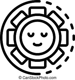 Smile in the sun icon, outline style