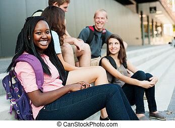 smile kvinde, kammerater, unge