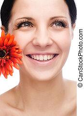 smile kvinde, mund, hos, great, teeth., hen, hvid baggrund