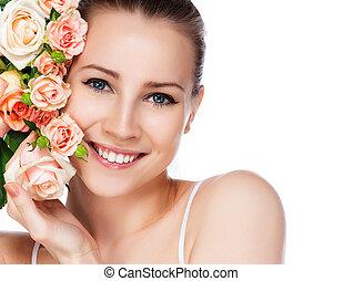 smile kvinde, roser, lys