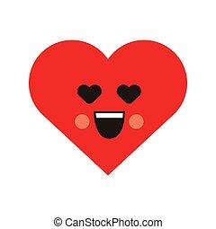 Smile loving heart icon