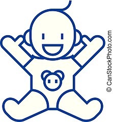 Smile newborn with opened hands line icon concept. Smile newborn with opened hands flat vector symbol, sign, outline illustration.