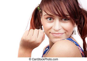Smile of cute playful teen woman