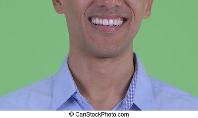 Smile of happy multi ethnic businessman - Closeup of mouth ...