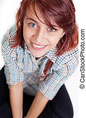 Smile of happy teen female student