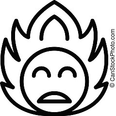 Smile on fire icon, outline style