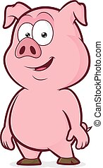 Smile pig standing - Clipart picture of a pig standing...