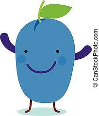 Smile plum icon, flat style