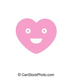 Smile pretty pink heart face sign icon. Happy smiley chat symbol. Colored Flat design button. Vector illustration
