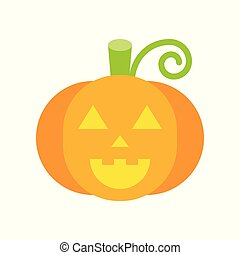 smile pumpkin, jack o lantern, halloween character set icon, flat design