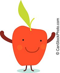 Smile red apple icon, flat style