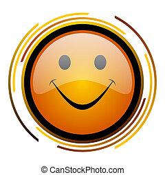 smile round design orange glossy web icon