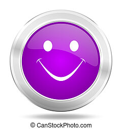 smile round glossy pink silver metallic icon, modern design web element