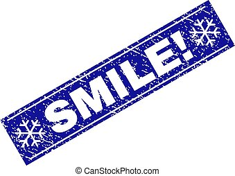 SMILE! Scratched Rectangle Stamp Seal with Snowflakes